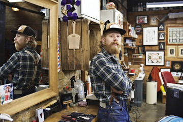 Portrait of barber in his shop