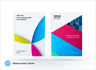 Material design template with colourful circles intersections. Creative abstract brochure set, annual report