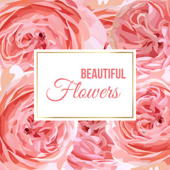 Floral banner with garden roses background. Luxury design for wedding invitation, greeting card, packege,  cosmetics, beauty products.