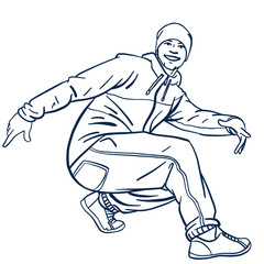 isolated comic vector breakdancer in cool pose in color. character design