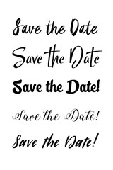 Save the date text calligraphy. Vector lettering for wedding. Hand lettering save the date card. Modern brush calligraphy for design. Wedding phrase postcard. Ink illustration.
