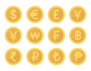 Golden coin set of icons. Gold pictogram coins collection.