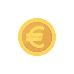 Golden glossy euro coin. Gold pictograph euro shiny coin.