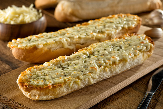 Garlic Bread with Melted Mozzarella Cheese and Herbs