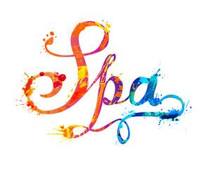 Spa. Hand written word of splash paint