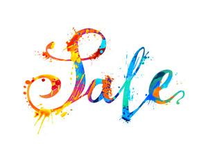 Sale. Hand written word of splash paint