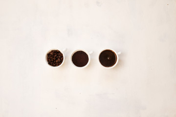 cup of coffee beans, ground coffee cup, a cup of coffee on a white background