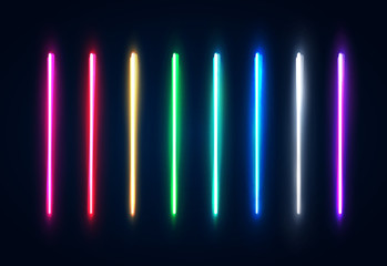 Halogen or led light lamps elements pack for night party or game design. Neon light tubes set. Colorful glowing lines or borders collection isolated on dark blue background. Color vector illustration. Wall mural