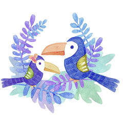Watercolor illustration. Two lovely tropical birds of blue color. On the background of blue leaves
