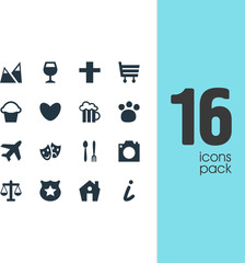 Vector illustration of 16 map icons. Editable set of pub, theatre, house and other icon elements.