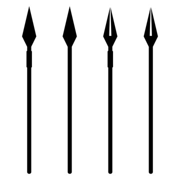 Simple, flat, black and white spear silhouette illustration. Four variations. Isolated on white