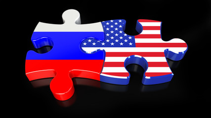 Russia and United States flags on puzzle pieces. Political relationship concept.