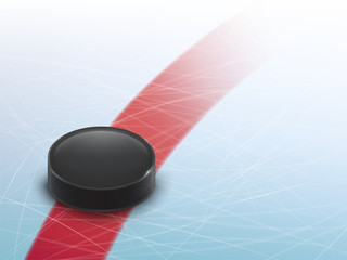 Vector 3d realistic hockey background, mock up for ad banner, poster. Template for sport event, bets site, competition. Black rubber puck on the blue ice with traces from skates.