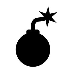 Simple, flat, black cartoon bomb silhouette icon. Isolated on white