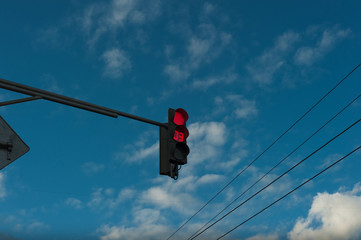 Red traffic light with timer. Countdown Traffic Light.