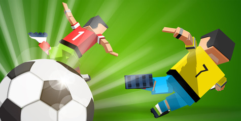 Cartoon soccer players and ball on green background
