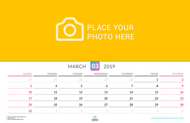Wall calendar for March 2019. Vector design print template with place for photo. Week starts on Sunday. Landscape orientation