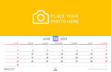 Wall calendar for June 2019. Vector design print template with place for photo. Week starts on Sunday. Landscape orientation