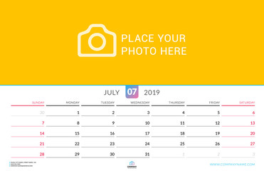 Wall calendar for July 2019. Vector design print template with place for photo. Week starts on Sunday. Landscape orientation