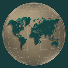 World map earth gold globe petroleum color background vector