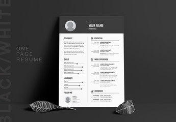 Resume Layout with Dark Gray Header