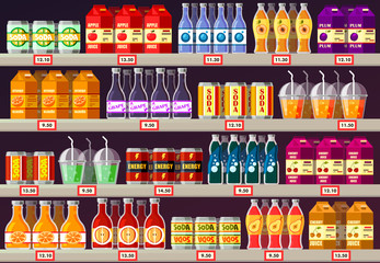 Supermarket or shop showcase or stall with drinks