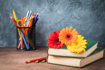 September 1 concept postcard, teachers day, back to school, supplies, alarm clock, daisies