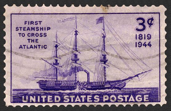 First steamship Savannah: First Steamship to Cross the Atlantic Postage Stamp, a hybrid sailing ship/sidewheel steamer