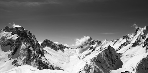 Wall Mural - Panoramic view of snow covered mountain peaks