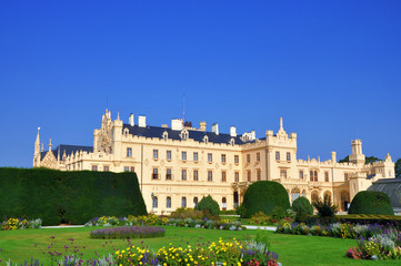 Side view of Lednice castle, UNESCO heritage, South Moravia, Czech republic