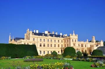 Side view of Lednice castle, UNESCO heritage, South Moravia, Czech republic