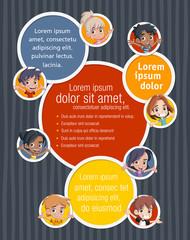 Vector banners / backgrounds with cartoon children. Design text box frames.
