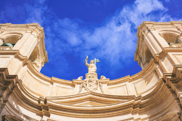 Valletta, Malta, St Johns cathedral on blue sky background, under view