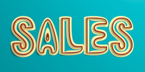 Text Sales, vintage style letters on light blue background. 3d illustration