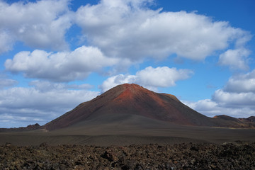 Views from guided tour Termesana route in Timanfaya national park, Lanzarote, Canary, Spain.