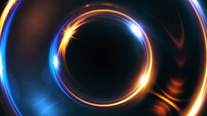 Abstract 3d illustration neon background. luminous swirling. Glowing spiral cover. Black elegant. Halo around. Power isolated. Sparks particle.Space tunnel. LED color ellipse. Glint glitter.