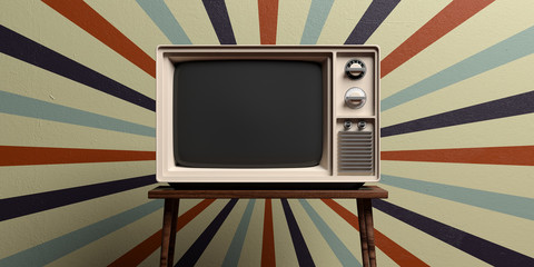 Poster Retro Retro old tv on circus vintage wall background. 3d illustration