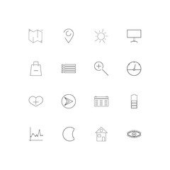 User Interface simple linear icons set. Outlined vector icons