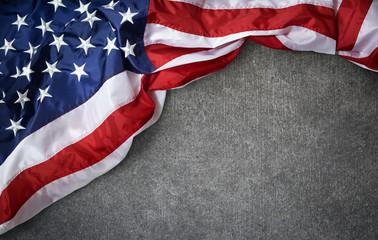 USA flag on grunge concrete background