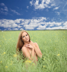 naked sexy girl walking in the field