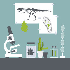 Biology class. Frog, plants, microscope.Vector illustration.