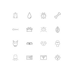 Animals simple linear icons set. Outlined vector icons