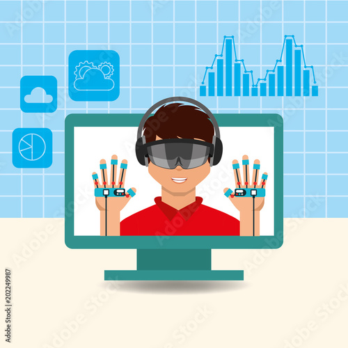 3abbdce13f18 young man with virtual reality goggles headphones and gloves future  technology vector illustration