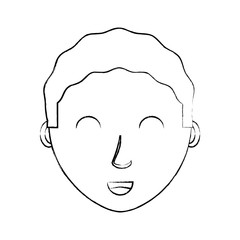 sketch of cartoon man face icon over white background, vector illustration