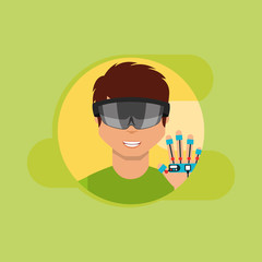 young man with virtual reality goggles and wired glove in hand vector illustration