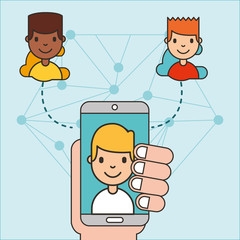 hand holding smartphone with boy on screen connecting people social media vector illustration