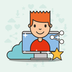 young boy on computer screen social media sharing vector illustration