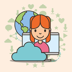 cute girl on computer screen cloud storage and world social media vector illustration