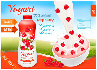 Fruit yogurt with peach advert concept. Yogurt flowing into a plastic cup with fresh raspberry. Design template. Vector.