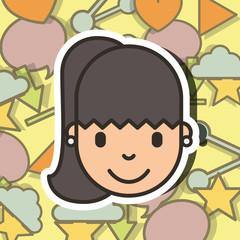 happy girl face on social media background vector illustration